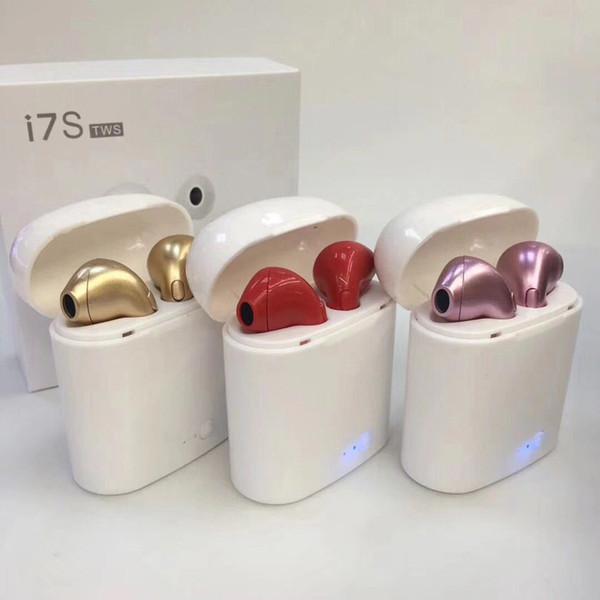 Cuffia Bluetooth I7S TWS all'ingrosso con auricolare Bluetooth auricolari Box doppio senza fili per iPhone X 8 più Samsung con pacchetto di vendita al dettaglio
