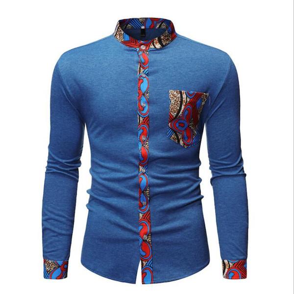 New men's shirt fashion stitching long-sleeved T-shirt casual shirt ladies high quality printing business men's dress shirts European code f