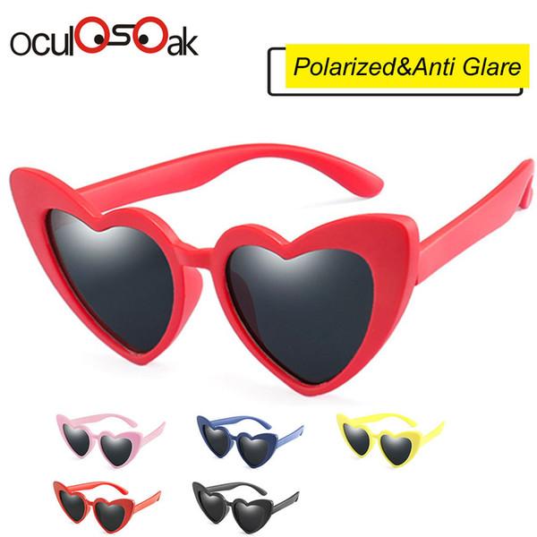 5fc480aee759 2019 Baby Girl Sunglasses For Children Heart Tr90 Black Pink Red Heart Sun  Glasses For Kids