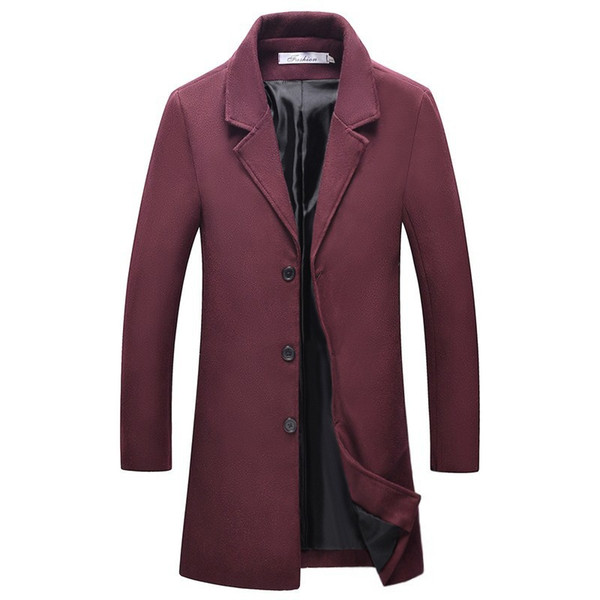 Explosões vendendo blusão homens 2019 outono / inverno novo casaco Europa e os Estados Unidos no vento casaco de lã longa e fina