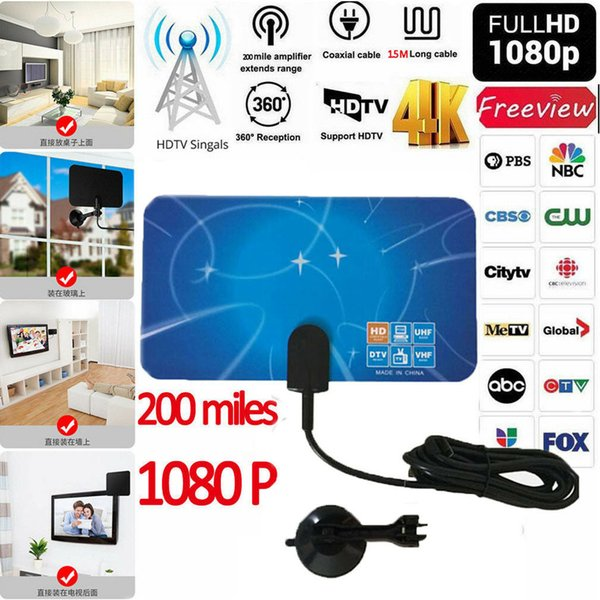 1080P 200 Mile Range Antenna TV Digital HD Skylink 4K Antena Digital Indoor HDTV