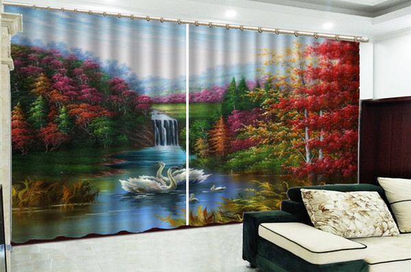 Curtain Beautiful Oil Painting Swan Lake 3d Landscape Curtains Custom Up Your Favorite High-End Practical Curtains