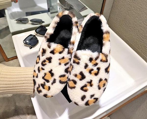 Oturum | Casual tembel kürk ayakkabı kadın düşük yuvarlak kafa düz leopar artı kadife pamuk ayakkabı kış ev giyim boyutu 35-40