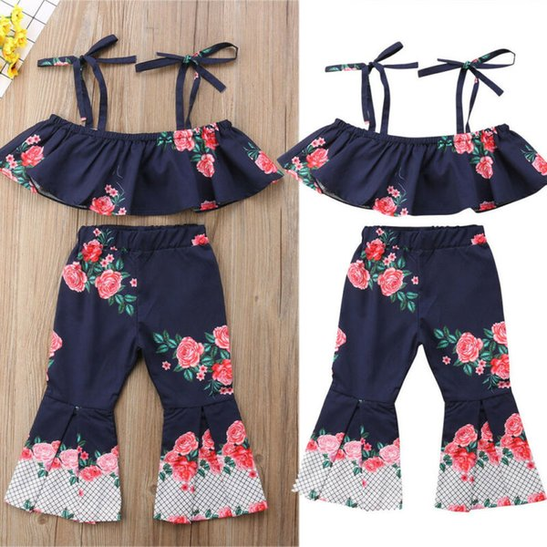 US Kids Baby Girl Floral Top Vest Mini Dress+Flared Pants Loose Leggings Outfits