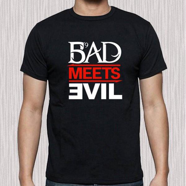 Compre Eminem Rapper Bad Meets Evil Album Logo Camiseta Negra Para ... 58c8e323f4b