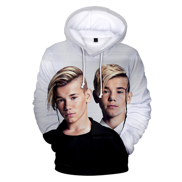 New White 3D Hoodie MARCUS&MARTINUS Singer Famous Pop Twins Fans Music Mix Fashion Brand Sweatshirts Sportwear Cool Young People