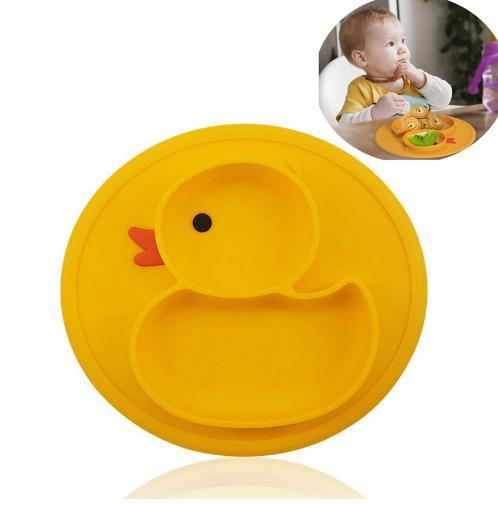 Table Mat Baby Duck Dishes Silicone Plate Suction Tray Antislip Mini Mat Children Kids Meal Fruits Tray Todder Placemat