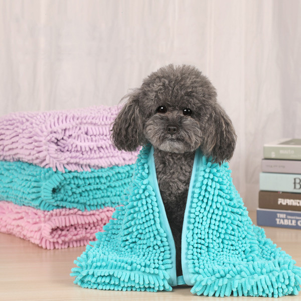 top popular Dog Towel Pet drying towel Ultra Soft Microfiber Chenille Dog Pet Bath Dry Towel Hand Pockets Super Absorbent Pet supplier 2020