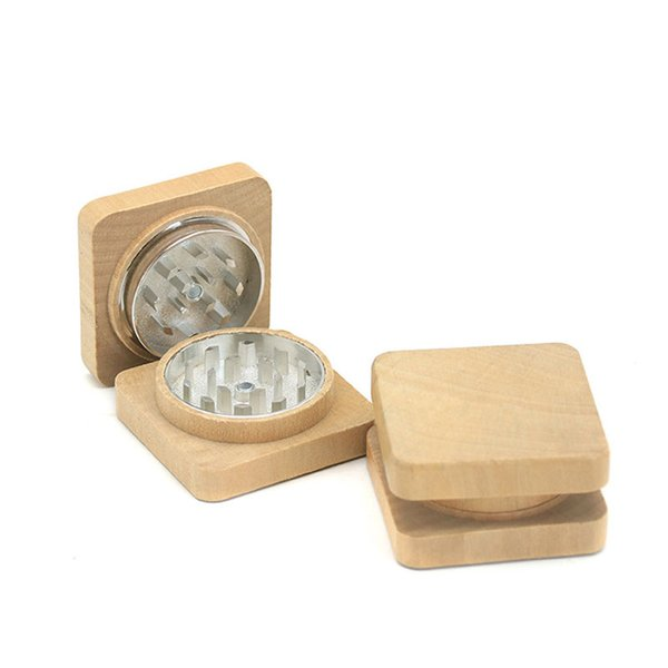 Wood Square Tobacco Grinders Wooden Grinders Wooden Tobacco Grinder Smoking Accessories 2 Layers 52*31 mm Free Shipping