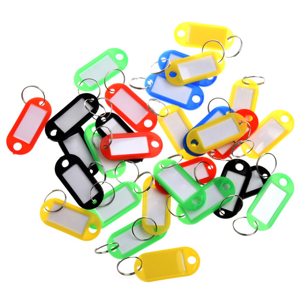 30 X Colored Plastic Key Fobs Luggage ID Tags Labels Key Ring with Name Cards For Many Uses - Bunches Of Keys Luggage C19011001