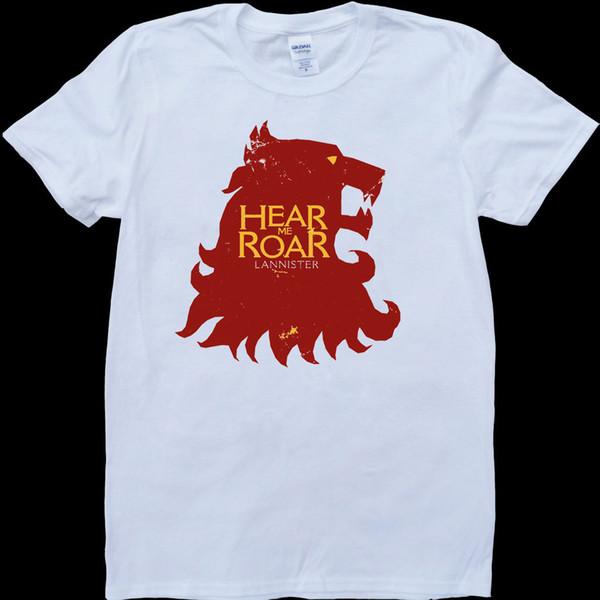 Game Of Thrones House Lannister Hear Me Roar White, Custom Made T-Shirt