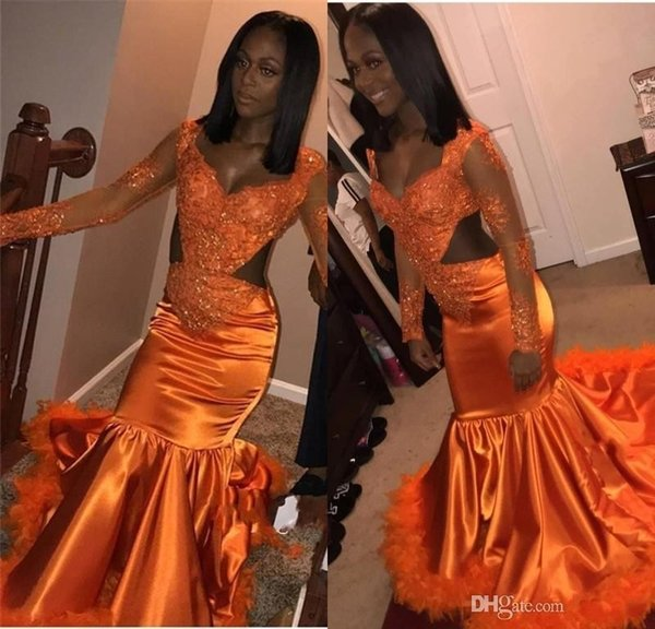 African Mermaid Orange Prom Dresses 2019 Low Neck Long Sleeves Cutaway Side Lace Feather Prom Dress Women Sexy Party Gowns BC1154