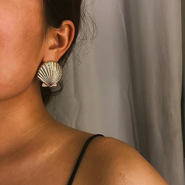Concha do mar concha vieira simples moda cor de ouro de prata geométrica grande brincos redondos para as mulheres da moda grande queda brincos de jóias