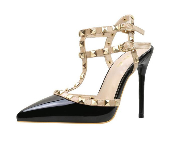 Designer Pointed Toe 2-Strap with Studs high heels Patent Leather rivets Sandals Women Studded Strappy Dress Shoes valentine