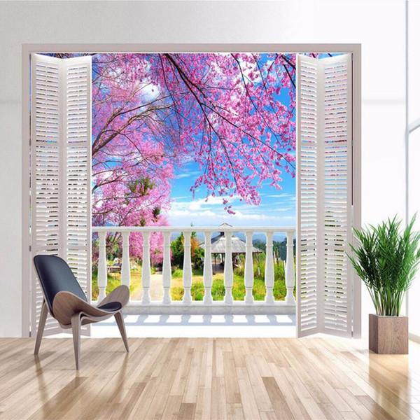 3D Photo Duvar Fotoğraf Duvar kağıdı Yanlış Pencere Görüntüleme Romantik Kiraz Çiçeği Duvar Resmi Salon Yatak Odası Duvar Kağıdı Dekoratif
