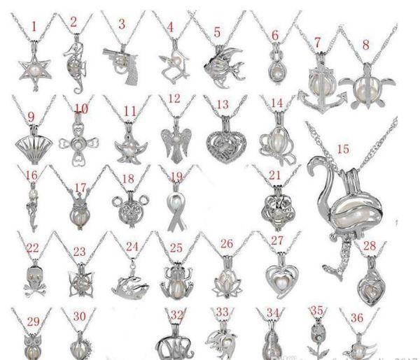 Hot Pérola Gaiola Pingente de Colar Com Pérola Ostra 36 Design Moda Desejo Amor animal oco Medalhão Clavícula Cadeia de pérolas Colares jóias