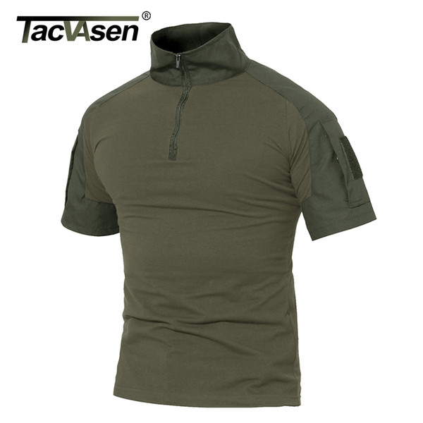 TACVASEN Männer Sommer T Shirts Armee Grün Tactical T Shirt Kurzarm Camouflage Baumwolle T Shirts Paintball Kleidung