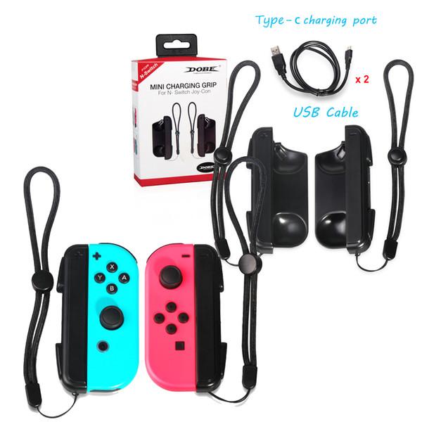 Мини зарядное устройство для зарядки док-станции для Nintendo Switch Joy-Con с низким уровнем заряда аккумулятора и светодиодным индикатором зарядного устройства - черный, 2 упаковки
