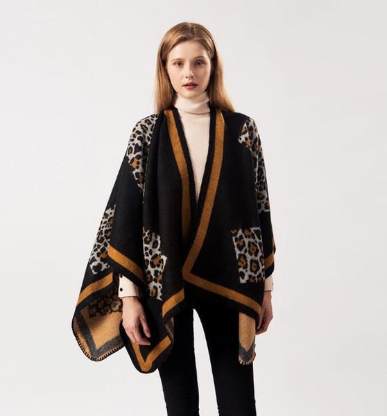 Novo cachecol 2019 designer de lenço das senhoras padrão de leopardo cashmere marca cachecol dual-use ar condicionado xale manto atacado 080802