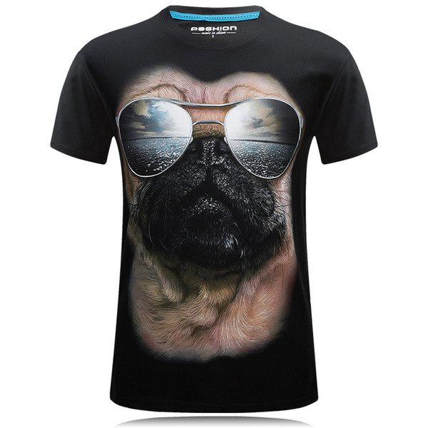 E-BAIHUI 3D Men T-shirt Casual Dog Funny Short Sleeve Stereo Pattern Rock Tees Round Neck Plus Size Men T-shirts T-41