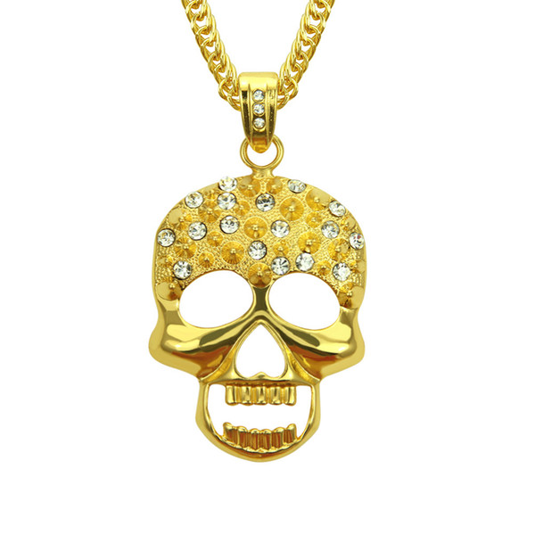 Men hip hop style Skull pendant necklaces Stainless Steel gold color punk skeleton shape necklace gifts fashion jewelry