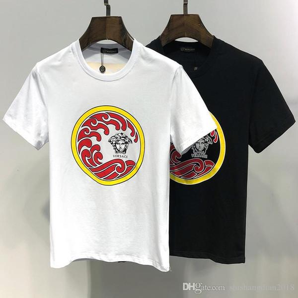 Лучшие продажи бренд одежды мужская футболка с коротким рукавом kanye western футболка волна печати письма черный белый печати футболка