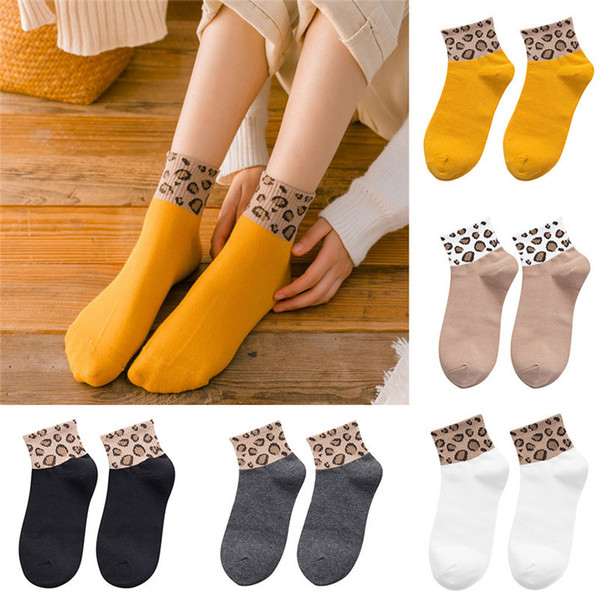 Calcetines felices mujeres Damas Leopardo Calcetines Estampados Moda Mujeres Tobillo cómodos divertidos chaussettes femme W020