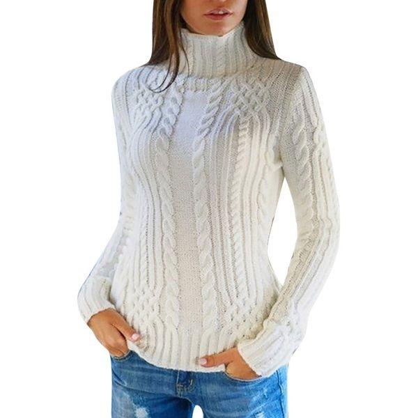 Осень зима мода свитера с длинным рукавом женский водолазка пуловер свитер сплошной досуг вязаный теплый джемпер блузка
