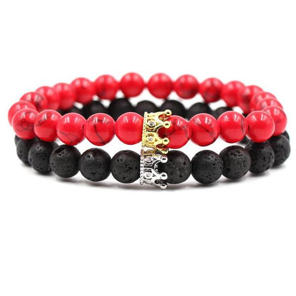 Lujo de alta calidad Micro Pave CZ Zirconia Crown Charm Bracelet hombres mujeres piedra de lava turquesa blanco pulsera de cuentas joyería hecha a mano