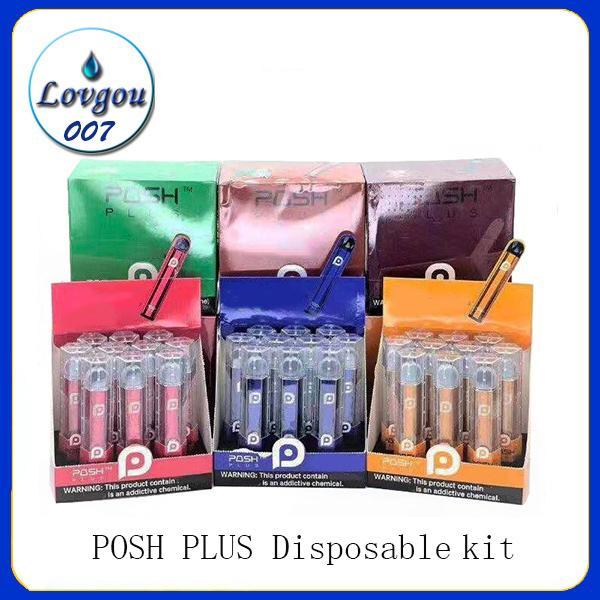 POSH PLUS Einwegvorrichtung Pod Starter Kit 280mAh Akku 2,0 ml-Patronen Vape leeren Stift 10 Farben PK Puff Bar EON 0268146