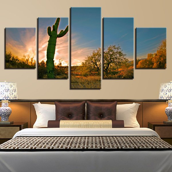 Modular Canvas Painting Living Room Decor 5 Pieces Plants Cactus Field Beautiful Nature Pictures Print Poster Wall Art Framework