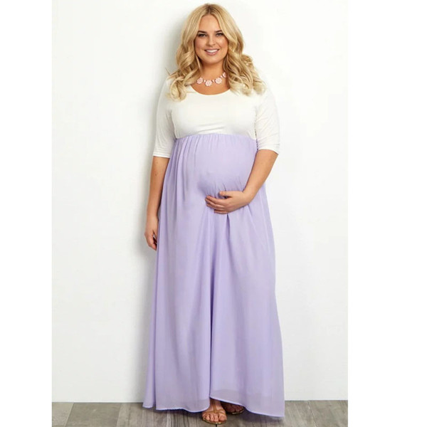 Plus Size Chiffon Maternity Dresses For Pregnant Women Clothes Long Straight Pregnancy Dresses Vestidos Gravidas Mother Clothing