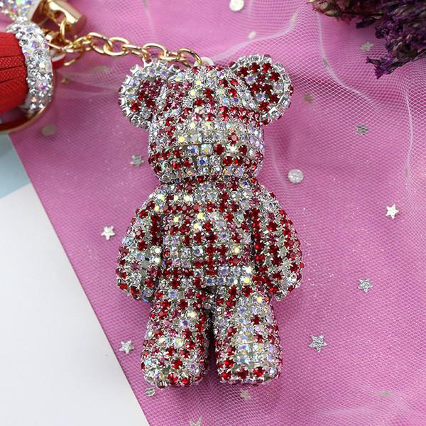 Highend diamondinlaid botão chave do urso violento Mulher Coreano bonito criativo chaveiro do carro cadeia saco de enfeites pendurados decorações