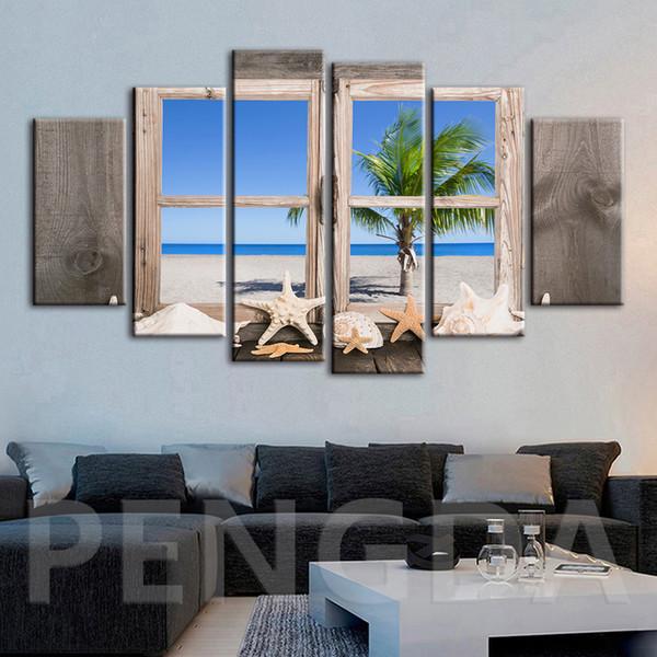 Pinturas de lona Decoración para el hogar Concha modular Ventana de estrella de mar Vistas al mar Imágenes Impreso moderno Cartel para sala de estar Marco de arte de pared