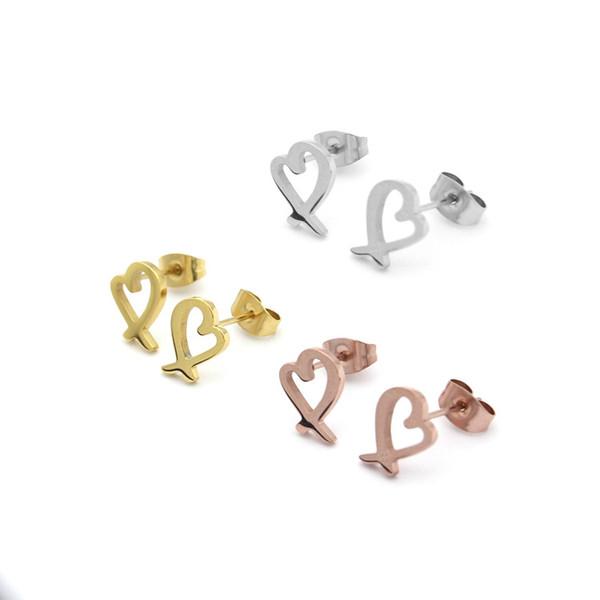 2017 kalp şeklinde küpe takı toptan T dış ticaret mektuplar Çapraz Kalp Küpe titanyum 18 ayar altın küpe Bayan
