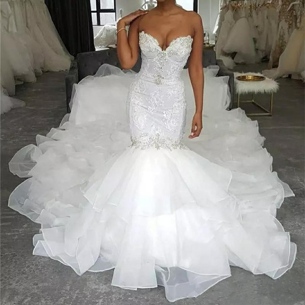 Luxury Design 2020 Longue sirène robes de mariée bretelles dentelle chapelle organza volants niveaux train Robes de mariée Plus Size