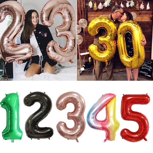 best selling 40inch Big Foil Birthday Balloons Helium Number Balloons Happy Birthday Party Decorations Kids Toy Figures Wedding Bridal Air Globos