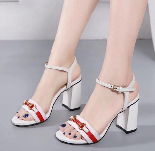 Hot New Womens Chunky À Talons Hauts 8CM Sandales D'été Des Escarpins Ankle Strap Dress 100% En Cuir Véritable Femme Boucle Chaussures SZ4-10