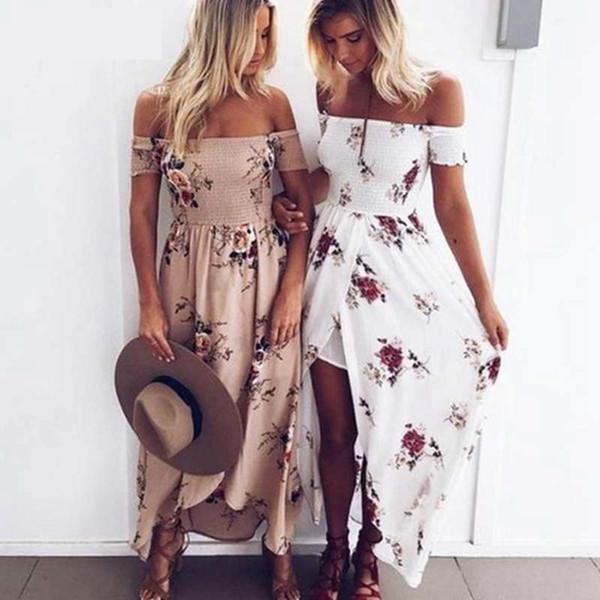 Litthing Women Slash Neck Floral Printed Boho Dress Fashion Beach Summer Dresses Ladies Strapless Long Maxi Dress Vestidos S-5XL