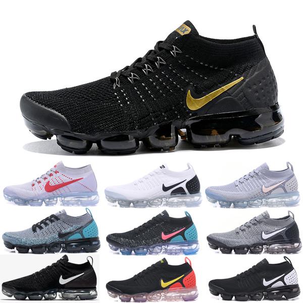 Acheter Nike Vapormax Air Max 2019 Flyknit 2019 Fly 2.0 Black Multi Couleur Chaussures De Course Hommes Femmes CNY Safari Racer Bleu Designer Baskets