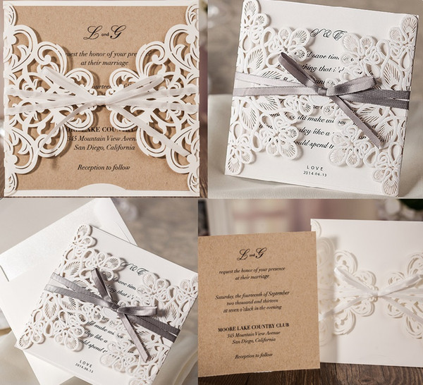2019 European Classic White Laser Cut Wedding Invites With Blank Or Customized Inner Shee Free Shipping By Dhl