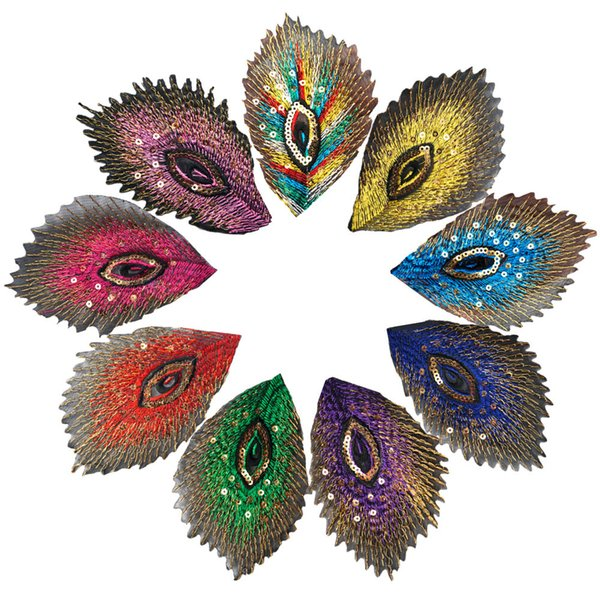 9PCS Rainbow Peacock Feathers Phoenix Sequined Mesh Embroidered Sew Iron On Patches Badges For Dress Shirt DIY Appliques Decoration