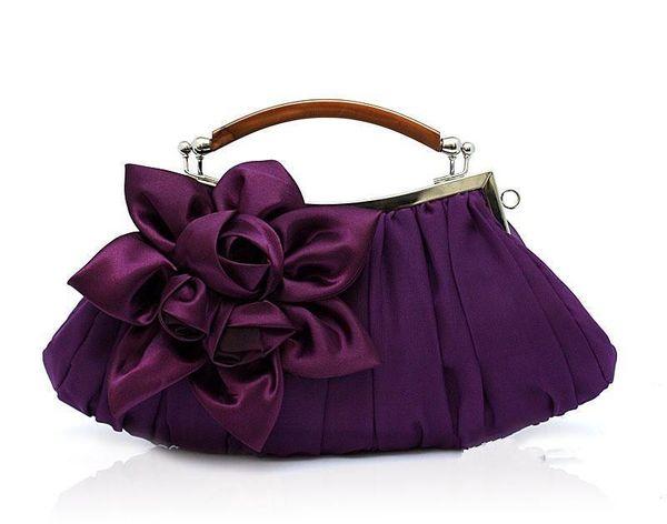 Nice- Purple Ladies Satin Wedding Evening Bag Clutch Handbag Bride Party Purse Makeup Bag Fashion 1115-e