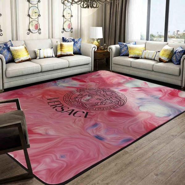 Pink Goddess Design Carpet Oil Painting V Logo Mat Bedroom Side Carpet Fashion Soft Spongia Non -Slip Mat
