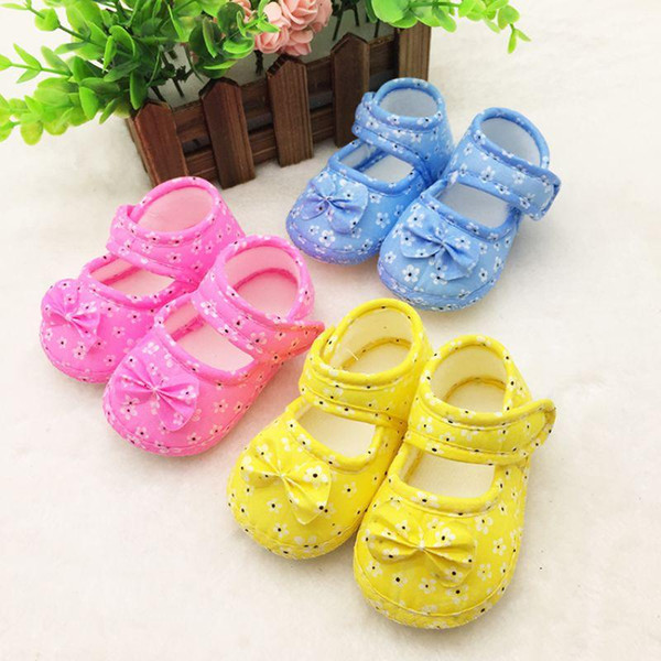 Fashionable Infant Kid Girl Boy Pre Walking Shoes Bow Flower Toddler Shoes Baby First Walkers 0-18M