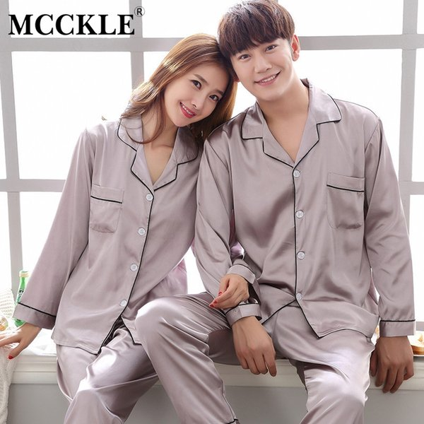 MCCKLE Unisex Plus Size Girocollo Solido Pigiama in raso set 2018 Autunno Inverno Lover Sleepwear Couple Casual Homewear