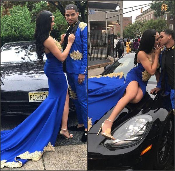 2K19 Çift Moda Kraliyet Mavi Gelinlik Modelleri Altın Aplikler Sevgiliye Boyun Bölünmüş Abiye giyim Afrika Uzun Bölünmüş Abiye giyim