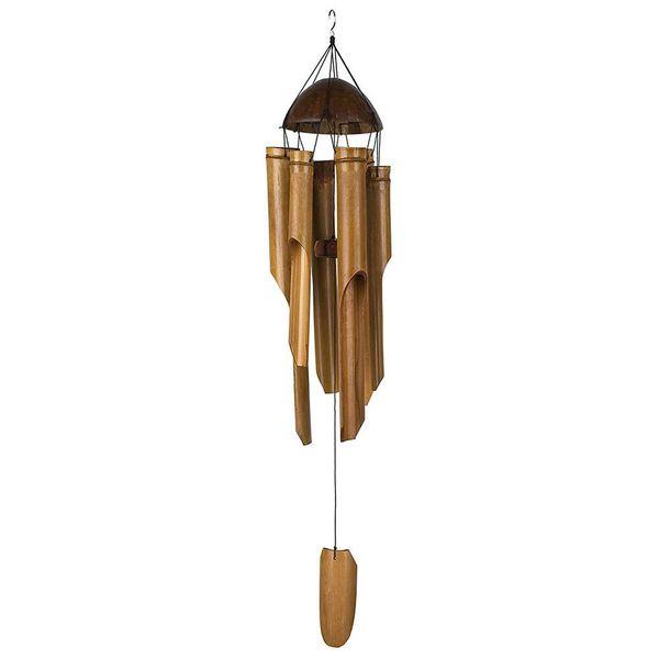 Bamboo Wind Chimes Coconut Wood Wind Bell Handmade Indoor Outdoor Wall Hanging Windchime Garden Yard Livingroom Decorations