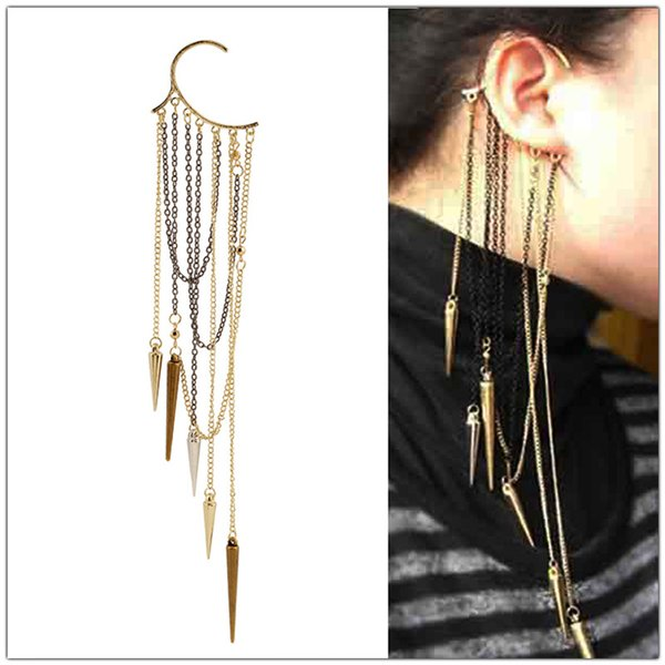 Vintage Rivets Spike Long Tassels Earrings Women Bronze Rivet Gothic Temptation Metal Ear Cuff Earrings Long Fringed Ear Cuff Earrings