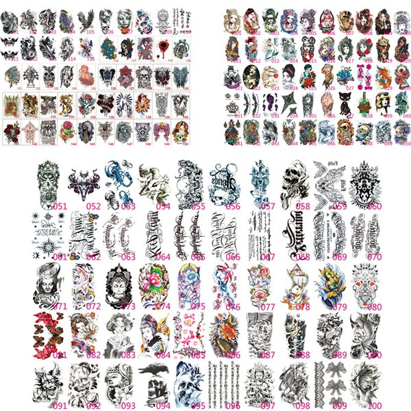 100X Tatuaggi Temporanei Falso Adesivi Tatuaggi Adesivi per Trasferimento del Braccio Inferiore Nero Totem Uomini Sexy Caldi Spray Disegni Tatto impermeabili